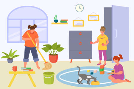 Kid good behavior at home concept, vector illustration. Cartoon boy girl children character care about house, happy flat people at cheerful childhood