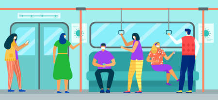 Subway train with man woman character , virus, vector illustration. People passenger in face mask transportation.