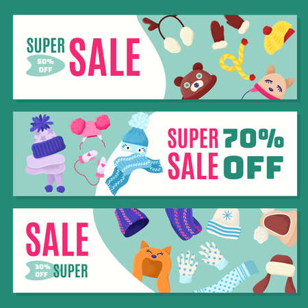 Discount, sale at warm children winter hats, vector illustration. Baby clothes, cute accessories for cold season. Woolen scarves beautiful design Banque d'images