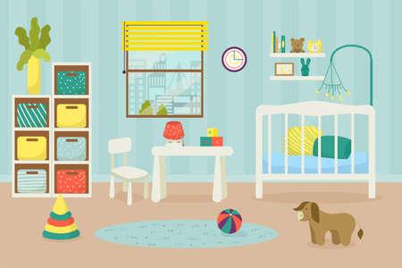 Nursery, children room for newborn baby, home indoor furniture, vector illustration. Child bedroom interior, crib in apartment bedroom.