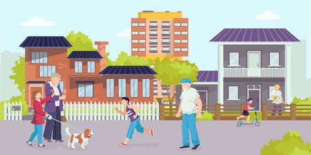 District street, vector illustration. Urban architecture with elderly man woman people character, cartoon town house. Modern residential building Vector Illustratie