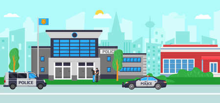 Police station at city street, vector illustration. Flat building with security, law department with policeman service. Cop man character arrest