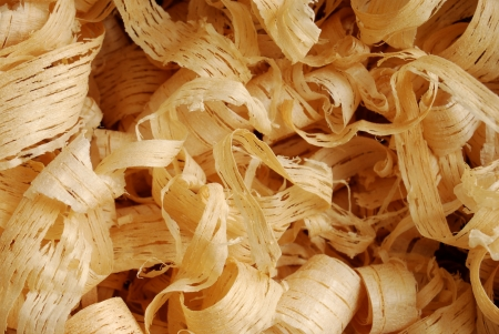 Background with a close-up of thin wood shavings