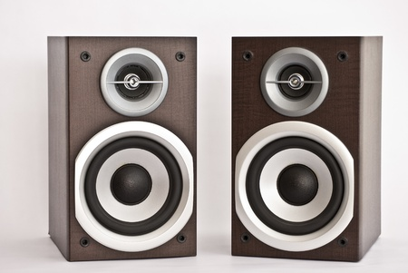 Wooden audio speakers on white background Stock Photo - 8768361
