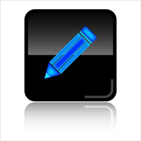 toolbar: Pencil black glossy web icon Stock Photo