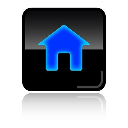 toolbar: Home black glossy icon Stock Photo