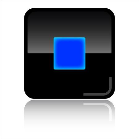 Stop black glossy icon photo