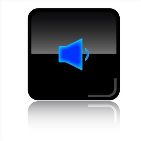 Volume down black glossy icon photo