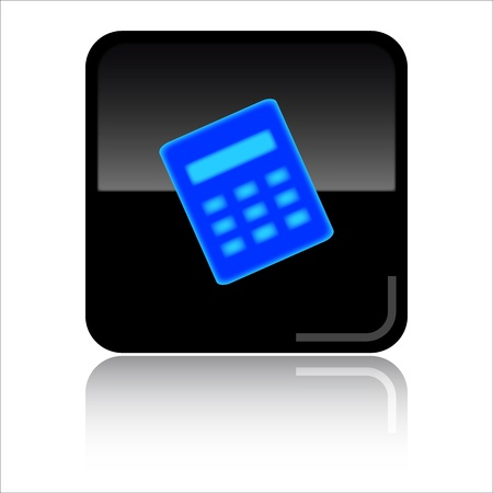Calculator - Black glossy icon Stock Photo - 8998082