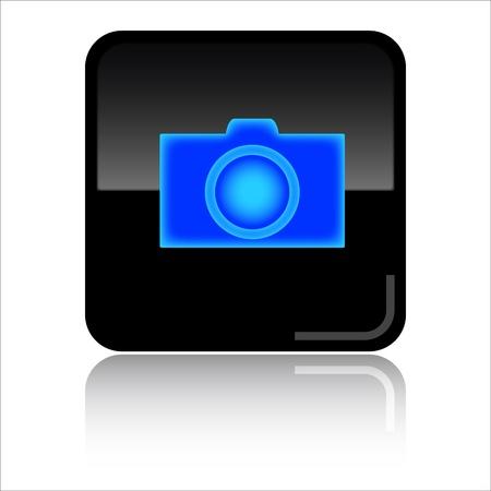 C�mara - icono negro brillante Foto de archivo