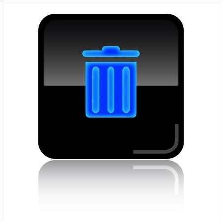 toolbar: Recycle bin - Black glossy icon