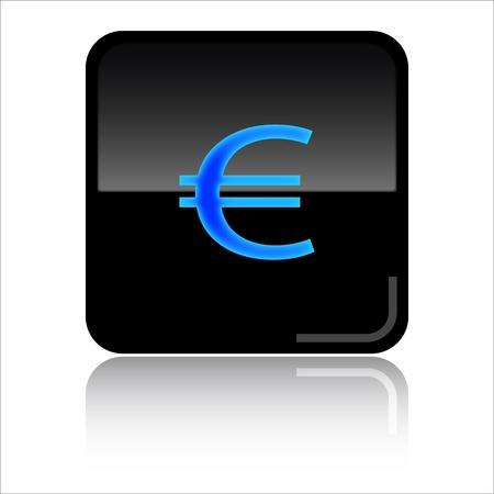 Euro - Black glossy icon Stock Photo - 8998070