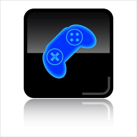 joypad: Games - Black glossy icon Stock Photo