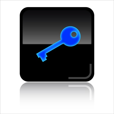 secure site: Key password -  Black glossy icon Stock Photo
