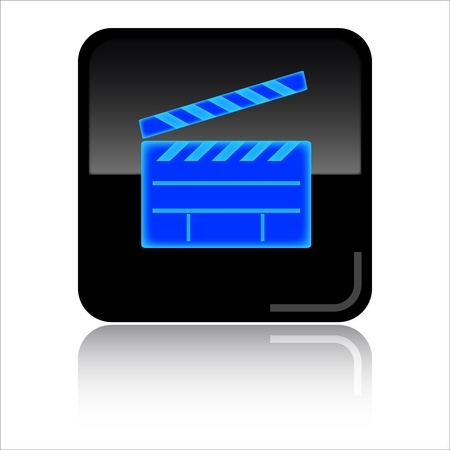 videos: Video - Black glossy icon Stock Photo