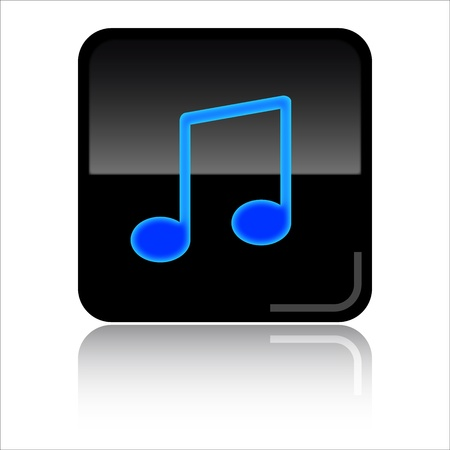 iconos de música: Música - icono negro brillante Foto de archivo