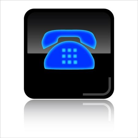 Phone - Black glossy icon Stock Photo - 8998122