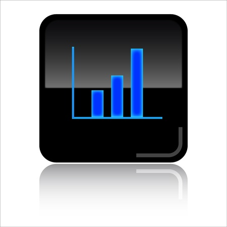 Statistics - Black glossy icon Stock Photo - 8998073