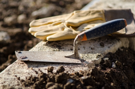Trowel and protective gloves photo