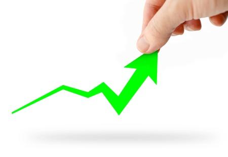 Mano rising gr�fico de negocios verdes