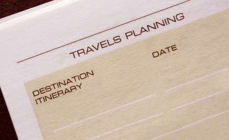 Travels planning page of an agenda Stock Photo