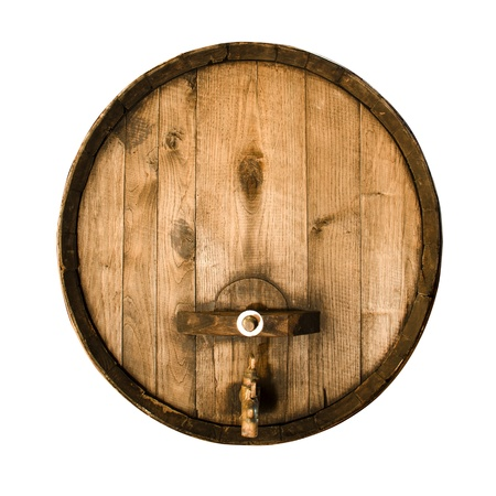 tavern: Old wooden barrel isolated over white background