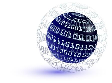 El c�digo binario abstracto mundo - el concepto de Internet Vectores