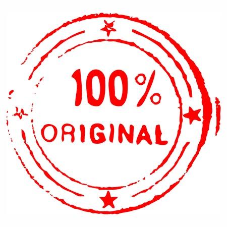 Cien por ciento originales grungy sello de tinta Vectores