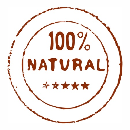 Hundred percent natural grungy ink stamp Stock Vector - 10942890