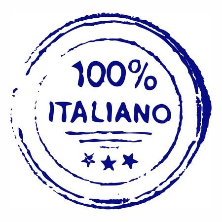 百パーセント イタリアーノ汚れたインク スタンプ  イラスト・ベクター素材