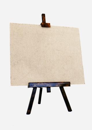 Lienzo en blanco sobre un tr�pode de madera Foto de archivo