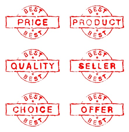 Set of six grungy ink stamps Vector