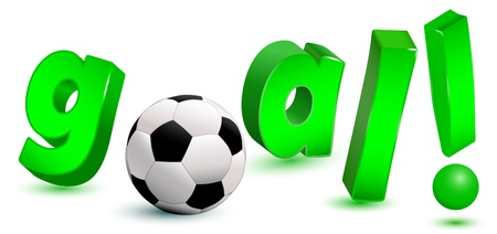 3d goal text with soccer ball
