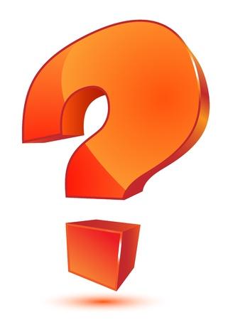 question mark: Orange 3d question mark