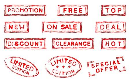 Set of twelve grungy ink stamps Stock Vector - 11501531