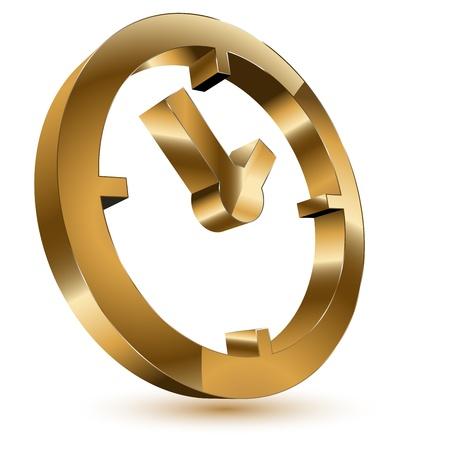 3 d のゴールデン タイム クロックのシンボル  イラスト・ベクター素材