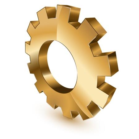 3 d の黄金のギヤ車輪シンボル