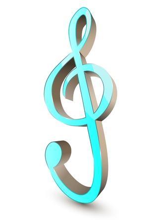 3d treble clef symbol Vector