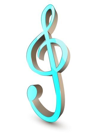 3d treble clef symbol Vector