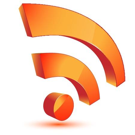 3d orange rss symbol Stock Vector - 11501569