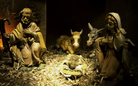 Representation of Nativity in a creche photo