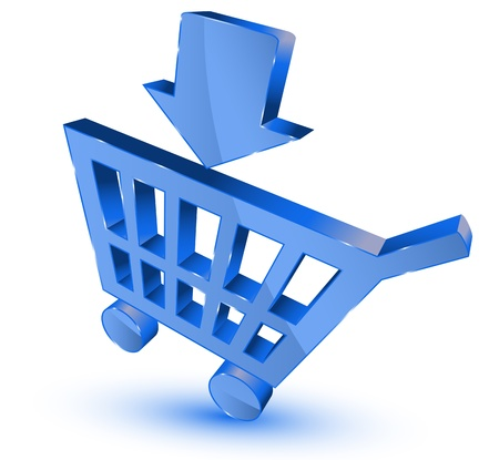 add to basket: Blue shopping cart Illustration