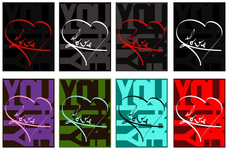 Love and heart - typography design for cards