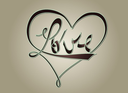 emotional love: Love and heart - typography design