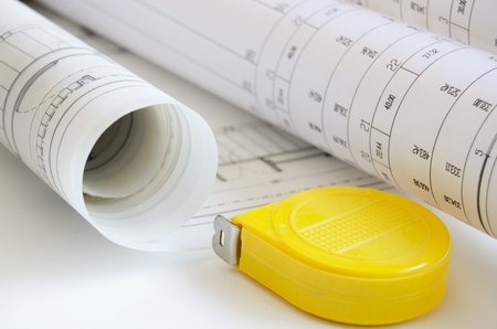 Blueprint and tape measure Stock Photo