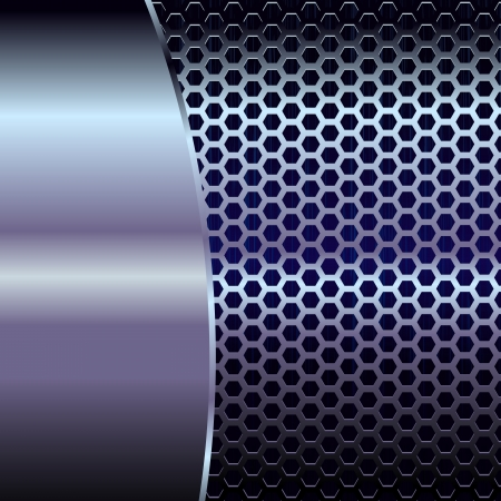metal grate: Metallic backdrop with hexagon grid Illustration