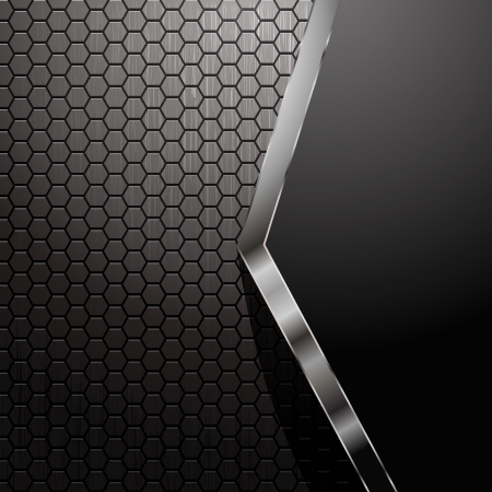 Metallic backdrop with hexagon grid Vector