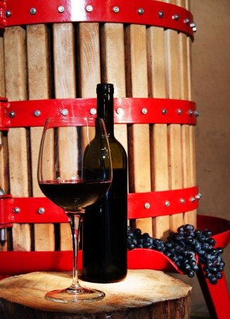winepress: Still life with glass of wine and vintage wine press Stock Photo