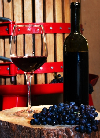 winepress: Still life with glass of red wine