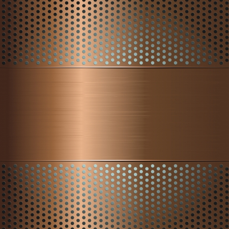 Metallic background with perforated grid Vector